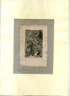 - LES DERNIERS MISTERES DE LA NUIT VONT CÔMENCER . EAU FORTE FIN XVIIIe S . DECOUPEE ET COLLEE SUR PAPIER - Religion & Esotericism