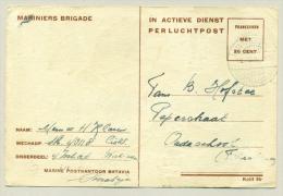 Nederlands Indië - 1948 - MariniersPkt Soerabaja Op Speciale Kerstkaart Naar Oudeschool / Friesland - Netherlands Indies