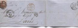 TP 12 S/LAC C.Bruxelles 23/4/1861 Obl.8 Barres 24 V.Paris C.d'arrivée PR2717 - 1858-1862 Medallions (9/12)