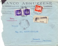 SS - BANCO ABRUZZESE GIULIANOVA - 12X18 - R - ANNO 1931 - TEMA TOPIC COMUNI D´ITALIA - STORIA POSTALE - Affrancature Meccaniche Rosse (EMA)
