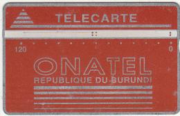 BURUNDI - Onatel Logo, Red 120 Units, CN : 001B, Tirage 12000, Used
