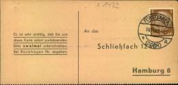 1942, FÜRSTENBERG (ODER); BRANDENBURG;  Liebesgaben-Paket Empfangsbestätigung, - Allemagne