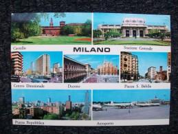 AEROPORTO   MILANO LINATE CON AEREO DC8 ALITALIA  E DUOMO DI MILANO - Aerodrome