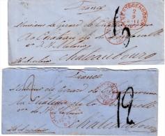 "PAYS- BAS : 2 LETTRES . "" HERTOGENBOSCH"" . TAXEES . POUR "" LA FRANCE "" . 1863 . - Niederlande"