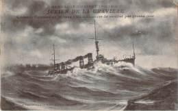 Bâteau - Campagne D'Orient 1914-1918, Julien De La Gravière, Croiseur Cuirassé De 1er Rang, En Manoeuvre De Combat - Guerra