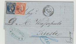 Gr-H004 / GRIECHENLAND -  Hermesköpfe 1878 Nach Triest, Italien - 1861-86 Large Hermes Heads