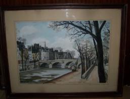 Gouaches Le Pont Marie Et Ile St Louis Quai Bourbon Paris Signée M Sicard  1942 - Gouaches