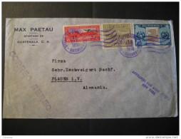 CA 1936 To Plauen Germany 3 Stamp On Air Mail Par Avion New York USA Cover Guatemala - Guatemala