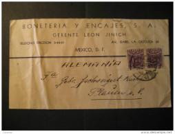 Mexico DF 193? To Plauen Germany 2 Stamp On Cover Mejico - Mexico