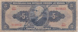 BILLETE DE BRASIL DE 5 CRUZEIROS DEL AÑO 1943 SERIE 494 (BANK NOTE) - Brasil