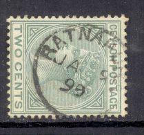 CEYLON, Postmark ´RATNAPURA´ On Q Victoria Stamp - Ceylon (...-1947)