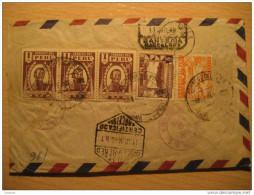 Lima 1946 To Barcelona Spain Via Aerea Air Mail Par Avion Registered Cancel Cover 5 Stamps Peru - Peru