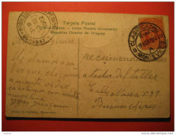 Montevideo 1912 To Buenos Aires Argentina Stamp On Banco Popular Bank Post Card America Uruguay - Uruguay