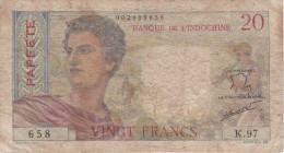 BILLETE DE OUTRE MER DE PAPEETE DE 20 FRANCS DEL AÑO 1963  (BANKNOTE) BANQUE DE L'INDOCHINE - Papeete (Polinesia Francesa 1914-1985)