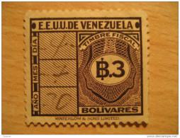 3 Bolivares Timbre Fiscal Poliza Tasa Tax Due Revenue Cinderella Official Venezuela - Venezuela