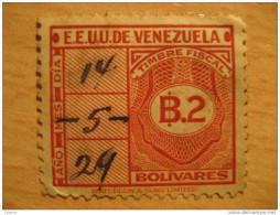 2 Bolivares Timbre Fiscal Poliza Tasa Tax Due Revenue Cinderella Official Venezuela - Venezuela
