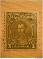 1 Bolivar Sucre Olive Timbre Fiscal Poliza Tasa Tax Due Revenue Cinderella Official Venezuela - Venezuela
