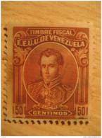 50 Centimos Sucre Timbre Fiscal Poliza Tasa Tax Due Revenue Cinderella Official Venezuela - Venezuela