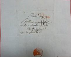 Lettre De Bruxelles AN 7 Pour Quimper, Cachet Rouge Bruxelles, Port 13 - 1794-1814 (Période Française)