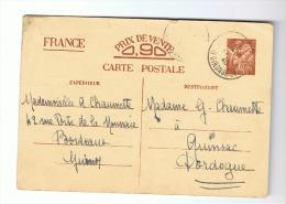 C Arte Postale Pré Imprimée Avec Texte à Completer 1940 - Bordeaux -  Quinsac (fr10) - Postkaarten