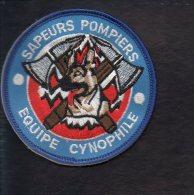"""Pompiers - Ecusson Ou Badge De Manche Tissu  """" Sapeurs Pompiers : Equipe Cynophile """" - Firemen"""