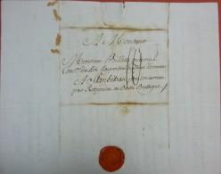 Lettre De Paris Pour Stang Bihan (finistère), Cachet P, Port 10 Sols, Sceau Armorié à La Cire Rouge - Marcophilie (Lettres)
