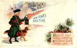 Bonne Année - 581 New Year Homme Lanterne Chien Colley Gaufrée Embossed - Nieuwjaar