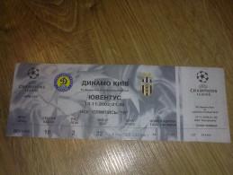 Football Soccer. Ticket Dynamo Kiev - Juventus 13.11.2002 - Tickets D'entrée