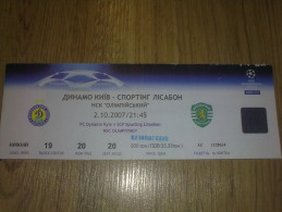Football Soccer. Ticket Dynamo Kiev - Sporting 02.10.2007 - Tickets - Vouchers