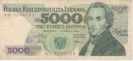BILLETE DE POLONIA DE 5000 ZLOTYCH  AÑO 1982  (BANKNOTE) - Polonia