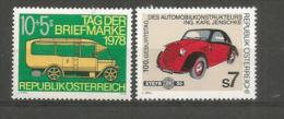 AUTRICHE: Voiture Postale De 1913 & Voiture Autrichienne Steyr Baby 1936.   2 Timbres Neufs ** - Cars