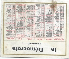 Calendrier De Poche/JOurnal/Le Démocrate Vernonnais/Vernon/Eure/1971      CAL280 - Calendriers