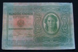 AUSTRIA 100 KRONEN 1912 PICK-12. VF+. CRISP PAPER, SERIAL# 1931 14903 - Austria