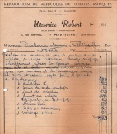 Facture De Réparations Automobiles Du 10.02.1950 - Maurice Robert - 1 Rue Chevreul - Le Petit Quevilly - 76140 - - Automobil