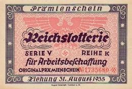 """Deutschland, Germany - """" REICHSLOTTERIE """", ORIGINAL - PRÄMIENSCHEIN, 1935 ! - Lotterielose"""