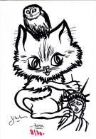 CPM Chat Cat Catze Chouette Liberty Statue De La Liberté Tirage Limité Illustrateur LARDIE / JIHEL - Lardie