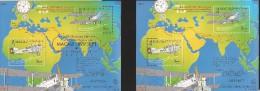 E)1999 MACAU, 75 YEARS OF THE FIRST LINK AEREA PORTUGAL-MACAU, AIRPLANE, CLOCK, MAP, GOLD OVERPRINT, SOUVENIR SHEET - 1999-... Chinese Admnistrative Region