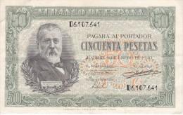 BILLETE DE ESPAÑA DE 50 PTAS DEL 9/01/1940 SERIE D CALIDAD  MBC (VF) (BANKNOTE) - [ 3] 1936-1975 : Régence De Franco