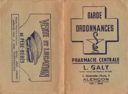 Garde Ordonnances - Pharmacie Centrale - L. Galy - 1 Grande Rue - 61000 Alençon - - Löschblätter, Heftumschläge