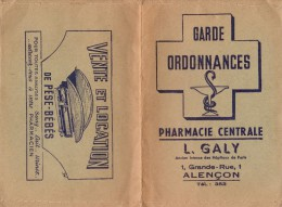 Garde Ordonnances - Pharmacie Centrale - L. Galy - 1 Grande Rue - 61000 Alençon - - Buvards, Protège-cahiers Illustrés