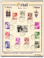 BELGIQUE, COB  556/67 SUR FEUILLET SOUVENIR ORVAL . (4FL60) - Covers & Documents