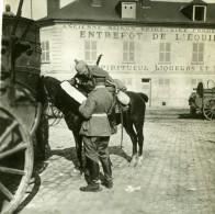 France WWI Clermont Oise Officiers Allemands A Cheval Maison Spire Vins Ancienne Photo SIP 1914-1918 - War, Military