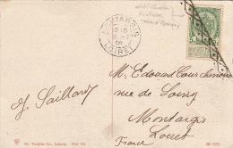 Carte 5cts Oblitéré Roulette Pour La France 1909 - 1893-1907 Coat Of Arms