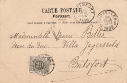 Carte CaD Bruxelles Pour La France 1899 >> Timbre Taxe 20cts - Briefe U. Dokumente