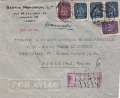 Lettre Recommandé Lisbonne Pour La France 1949 - Marcophilie