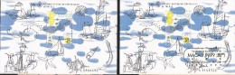 B)1999 MACAO, OCEAN,  MARITIMA HERITAGE, SEA, STARFISH, BOAT, WHALE, OYSTER, GOLD OVENPRINT,  SOUVENIR SHEETS, MNH - Gebraucht