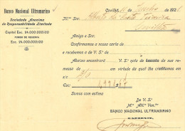 1920s Carta Timbrada BANCO NACIONAL ULTRAMARINO. Covilha PORTUGAL - Portogallo
