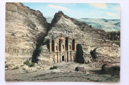 Ed Deir, Petra Jordan Postcard With Hashemite Kingdom Of Jordan 40 Fils Stamp - Jordan