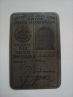 MEXICO - OLD & RARE METAL ID - DEPARTAMENTO DEL DF - 1943 - - Documents Historiques