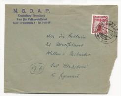 1944 - ALSACE ANNEXEE - ENVELOPPE De SERVICE Des AIDES SOCIALES Du PARTI NAZI NSDAP De STRASBOURG - WW II